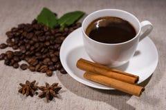 Πλήρες φλιτζάνι του καφέ με την κανέλα και τα καρυκεύματα Στοκ Εικόνες