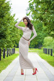 Πλήρης αύξηση, όμορφη νέα γυναίκα του προκλητικού μακριού γκρίζου φορέματος στοκ εικόνες