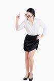 Πλήρης επιχειρησιακή γυναίκα σωμάτων που φωνάζει σε κάποιο Απομονωμένη άσπρη πλάτη Στοκ Φωτογραφίες
