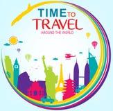 Πλήρης διανυσματικός χρόνος να ταξιδεψει σε όλο τον κόσμο Στοκ εικόνα με δικαίωμα ελεύθερης χρήσης