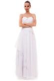 Πλήρης νύφη μήκους στην άσπρη γαμήλια εσθήτα που απομονώνεται Στοκ εικόνες με δικαίωμα ελεύθερης χρήσης