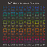 Πλήρη βέλη και κατεύθυνση μετρό χρώματος Στοκ φωτογραφίες με δικαίωμα ελεύθερης χρήσης