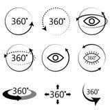 Πλήρη εικονίδια άποψης γωνίας 360 βαθμών Στοκ Φωτογραφίες