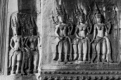 Πλήρη πέντε Apsaras με τη γλυπτική λεπτομέρειας Στοκ Εικόνα
