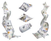 Πλαίσια αριστερού και δεξιά γωνιών $100 Bill, 3 που απομονώνονται Στοκ φωτογραφία με δικαίωμα ελεύθερης χρήσης