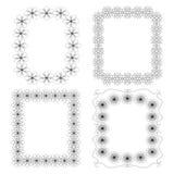 4 πλαίσια με τα γεωμετρικά floral στοιχεία απεικόνιση αποθεμάτων