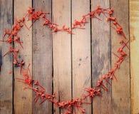 Πλαίσια λουλουδιών μορφής καρδιών στο ξύλινο υπόβαθρο Στοκ φωτογραφίες με δικαίωμα ελεύθερης χρήσης