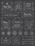 Πλαίσια & στοιχεία στροβίλου πινάκων κιμωλίας Διανυσματική απεικόνιση
