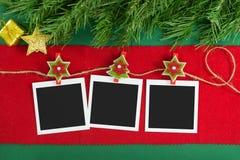 Πλαίσια φωτογραφιών polaroid Χριστουγέννων Στοκ Φωτογραφία