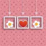 Πλαίσια 3 χρωματισμένες διακοσμήσεις λουλουδιών καρδιών Στοκ εικόνες με δικαίωμα ελεύθερης χρήσης