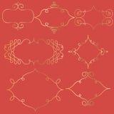 Πλαίσια Doodle που τίθενται σε ένα κόκκινο υπόβαθρο Στοκ Φωτογραφία
