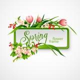 Πλαίσιο άνοιξη με τα λουλούδια επίσης corel σύρετε το διάνυσμα απεικόνισης Στοκ εικόνα με δικαίωμα ελεύθερης χρήσης