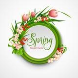 Πλαίσιο άνοιξη με τα λουλούδια επίσης corel σύρετε το διάνυσμα απεικόνισης Στοκ φωτογραφία με δικαίωμα ελεύθερης χρήσης