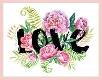 Πλαίσιο αγάπης Watercolor Στοκ εικόνα με δικαίωμα ελεύθερης χρήσης