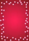 Πλαίσιο λαμπών φωτός μορφής καρδιών και αστεριών Στοκ φωτογραφία με δικαίωμα ελεύθερης χρήσης