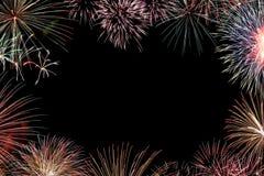 Πλαίσιο από τα ζωηρόχρωμα πυροτεχνήματα διακοπών με το διάστημα Στοκ εικόνα με δικαίωμα ελεύθερης χρήσης