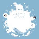Πλαίσιο αρκτικών κύκλων, ζώα, άνθρωποι Διανυσματική απεικόνιση