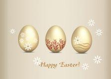 πλαίσιο αυγών Πάσχας χρώματος καρτών που χαιρετά το ευτυχές φυτό Στοκ Εικόνες