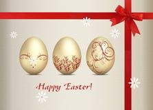 πλαίσιο αυγών Πάσχας χρώματος καρτών που χαιρετά το ευτυχές φυτό Στοκ εικόνες με δικαίωμα ελεύθερης χρήσης