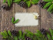 Πλαίσιο για τις επιγραφές με την κάρτα διακοσμήσεων Χριστουγέννων Στοκ Φωτογραφία