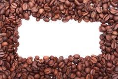 Πλαίσιο λευκό καφέ φασολιών ανασ& Στοκ Εικόνες