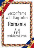 Πλαίσιο και σύνορα της κορδέλλας με τα χρώματα της σημαίας της Ρουμανίας απεικόνιση αποθεμάτων