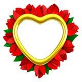 Πλαίσιο καρδιών με τα κόκκινα λουλούδια, τρισδιάστατα στοκ φωτογραφία