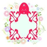 Πλαίσιο κινούμενων σχεδίων με το floral υπόβαθρο Στοκ φωτογραφία με δικαίωμα ελεύθερης χρήσης