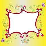 Πλαίσιο κινούμενων σχεδίων με το floral υπόβαθρο Στοκ Εικόνα