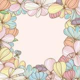 Πλαίσιο κρητιδογραφιών λουλουδιών ελεύθερη απεικόνιση δικαιώματος