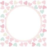 Πλαίσιο κύκλων με τις μοντέρνες καρδιές Στοκ εικόνες με δικαίωμα ελεύθερης χρήσης