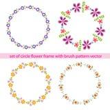 Πλαίσιο κύκλων λουλουδιών που τίθεται με το διάνυσμα σχεδίων βουρτσών Στοκ φωτογραφία με δικαίωμα ελεύθερης χρήσης
