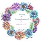 Πλαίσιο κύκλων, στεφάνι με τα λουλούδια anemone watercolor Στοκ Εικόνες