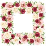 Πλαίσιο με τα κόκκινα, ρόδινα και άσπρα τριαντάφυλλα επίσης corel σύρετε το διάνυσμα απεικόνισης Στοκ Φωτογραφία