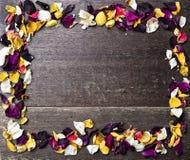 Πλαίσιο με τα ξηρά ροδαλά πέταλα στο ξύλινο υπόβαθρο Στοκ Φωτογραφία