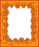 Πλαίσιο με τα φύλλα και τα λουλούδια Στοκ Φωτογραφίες