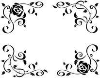 Πλαίσιο με την όμορφη ροδαλή μαύρη σκιαγραφία λουλουδιών διανυσματική απεικόνιση