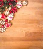 Πλαίσιο μπισκότων Χριστουγέννων ή βαλεντίνων με το κενό διάστημα για το κείμενο σχεδίου Βαλεντίνοι, νέα μπισκότα μελοψωμάτων έτου Στοκ Φωτογραφίες