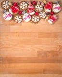 Πλαίσιο μπισκότων Χριστουγέννων ή βαλεντίνων με το κενό διάστημα για το κείμενο σχεδίου Βαλεντίνοι, νέα μπισκότα μελοψωμάτων έτου Στοκ Εικόνες