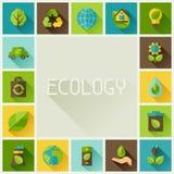 Πλαίσιο οικολογίας με τα εικονίδια περιβάλλοντος Στοκ Εικόνα