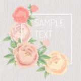 Πλαίσιο λουλουδιών πέρα από το ξύλινο υπόβαθρο επίσης corel σύρετε το διάνυσμα απεικόνισης Στοκ Φωτογραφία