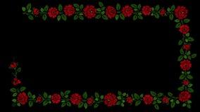 Πλαίσιο λουλουδιών στο μαύρο υπόβαθρο απόθεμα βίντεο