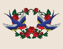 Πλαίσιο παλιού σχολείου με τα τριαντάφυλλα και τα πουλιά επίσης corel σύρετε το διάνυσμα απεικόνισης Στοκ εικόνα με δικαίωμα ελεύθερης χρήσης