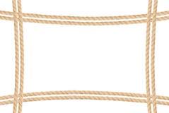 Πλαίσιο που αποτελείται από το σχοινί που απομονώνεται στο λευκό Στοκ φωτογραφίες με δικαίωμα ελεύθερης χρήσης