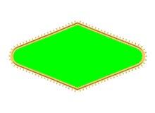 Πλαίσιο σημαδιών διαμαντιών βολβών ύφους του Λας Βέγκας με το χρώμα πράσινο Στοκ Εικόνα