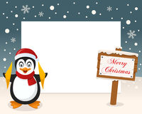 Πλαίσιο σημαδιών Χαρούμενα Χριστούγεννας - Penguin Στοκ Εικόνες