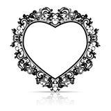 Πλαίσιο σκιαγραφιών με μορφή της καρδιάς για την εικόνα ή τη φωτογραφία Στοκ Φωτογραφία