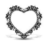 Πλαίσιο σκιαγραφιών με μορφή της καρδιάς Στοκ εικόνα με δικαίωμα ελεύθερης χρήσης