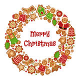 Πλαίσιο στεφανιών διακοπών των μπισκότων Χριστουγέννων Στοκ εικόνες με δικαίωμα ελεύθερης χρήσης