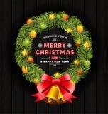 Πλαίσιο στεφανιών Χριστουγέννων και σχέδιο τυπογραφίας Στοκ φωτογραφία με δικαίωμα ελεύθερης χρήσης